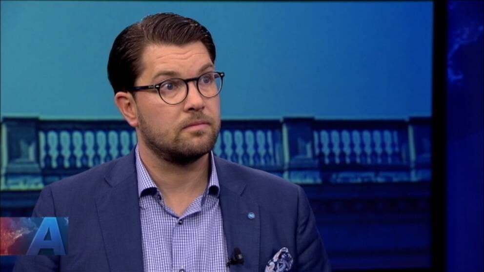 Sverigedemokraternas partiledare Jimmie Åkesson var med i Aktuellt.