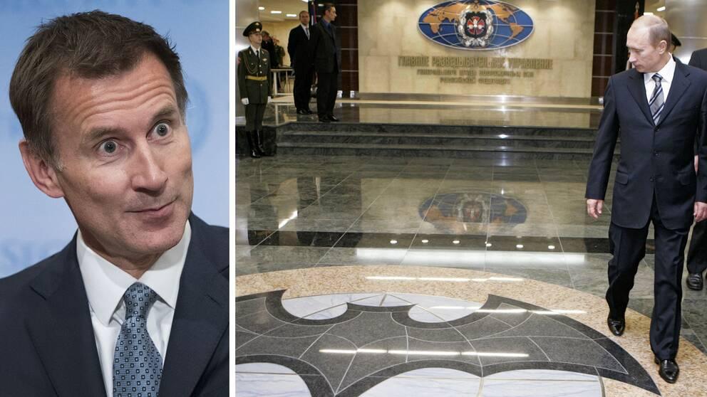 Storbritanniens utrikesminister Jeremy Hunt (till vänster) anklagar den ryska underrättelsetjänsten GRU (arkivfoto från dess högkvarter till höger) för att ligga bakom flera stora cyberattacker.