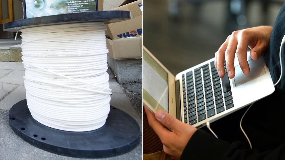 En rulle med fiberkabel och en dator