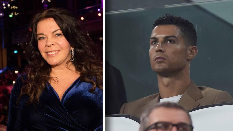SVT:s utrikesreporter i Italien Jennifer Wegerup och världsstjärnan Cristiano Ronaldo.