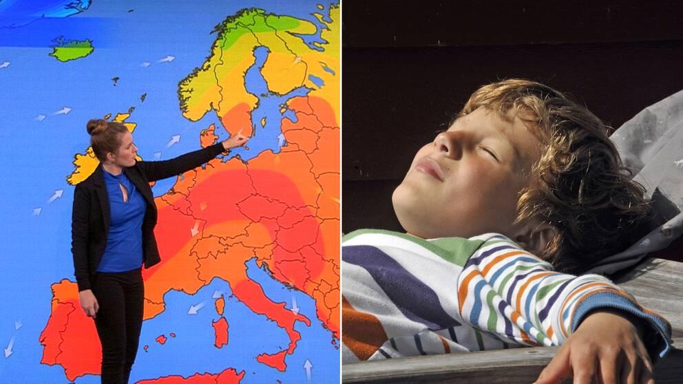 En väderkarta och en pojke som solar