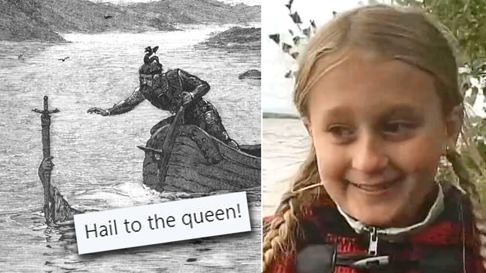 Saga Vanecek hittade järnålderssvärdet då hon badade i sjön Vidöstern.