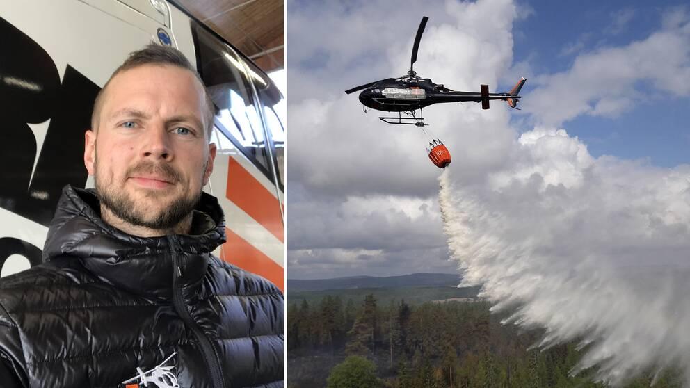 proträtt på en ung man, samt flygbild på helikopter som vattenbombar