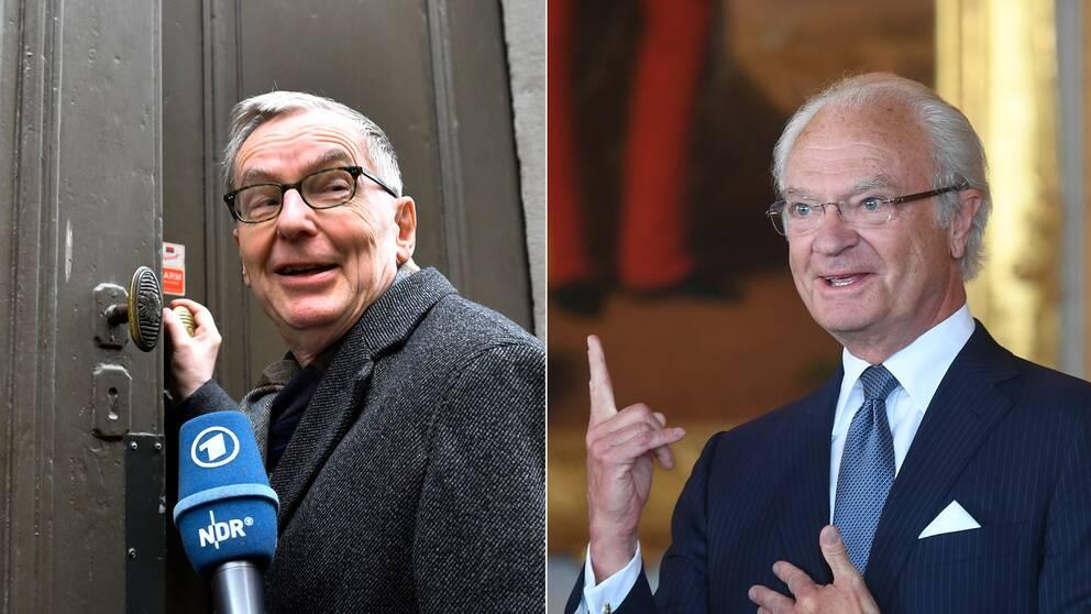 Svenska Akademiens tf ständige sekreterare Anders Olsson och kung Carl Gustaf.