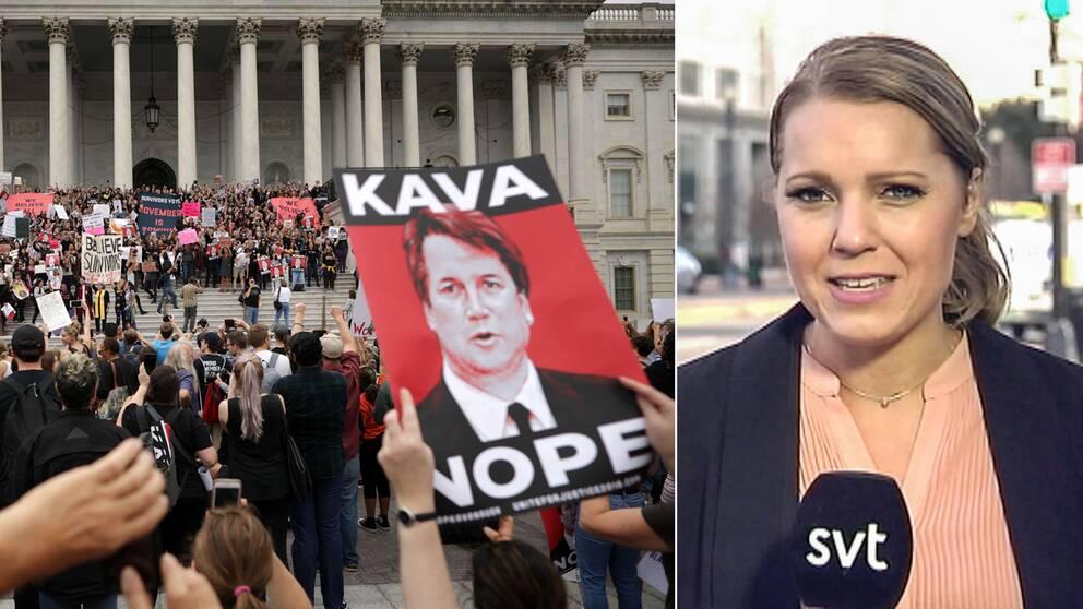 Massiva protester mötte senatorerna när de skulle rösta om Brett Kavanaugh (t.h) på lördagskvällen svensk tid.