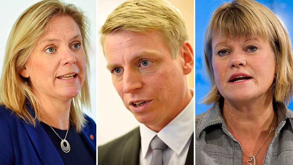 Magdalena Andersson (S), Per Bolund (MP) och Ulla Andersson (V)