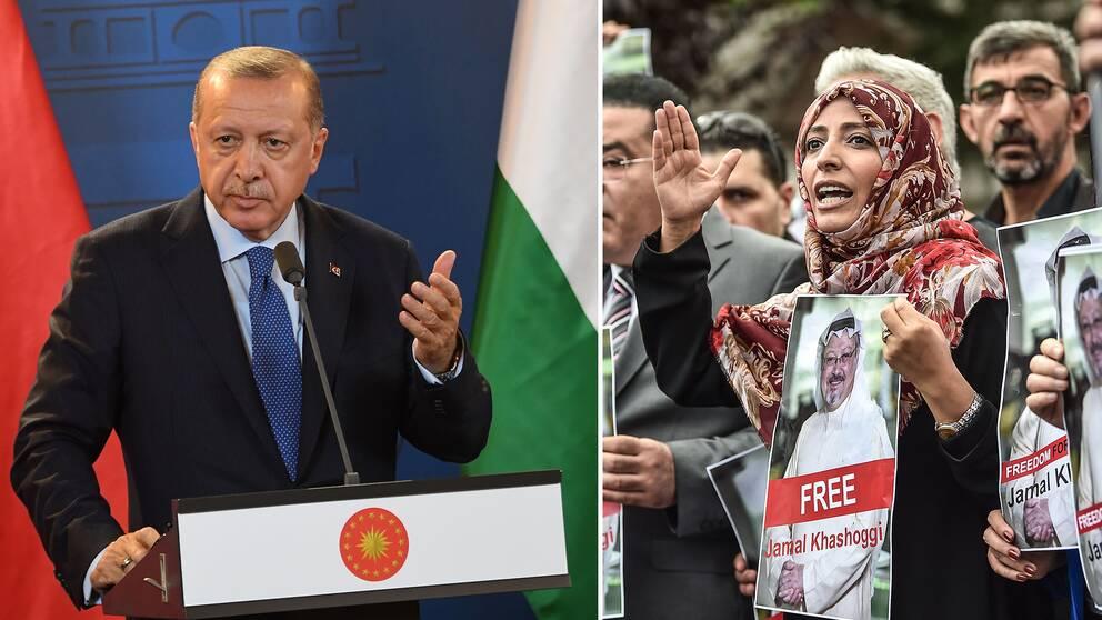 Turkiets president Recep Tayyip Erdogan kräver Saudiarabien på svar, i fallet där bland annat jementiska fredspristagaren Tawakkol Karman krävt att journalisten Jamal Khashoggi släpps.