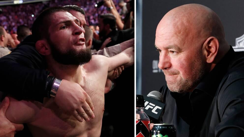 UFC-mästaren Khabib Nurmagomedov (vänster) och presidenten Dana White (höger).