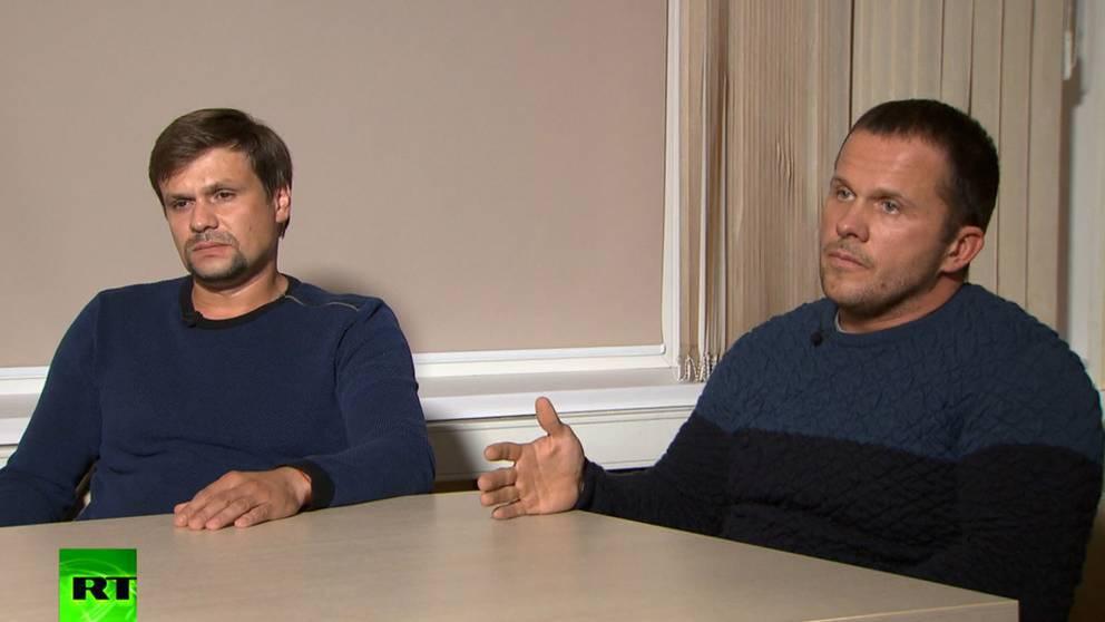 De misstänkta ryska agenterna i en intervju med den ryska statliga internationella tv-kanalen Russia Today