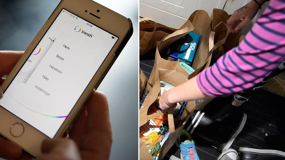 Swish-app i telefon och person med matkassar i hall