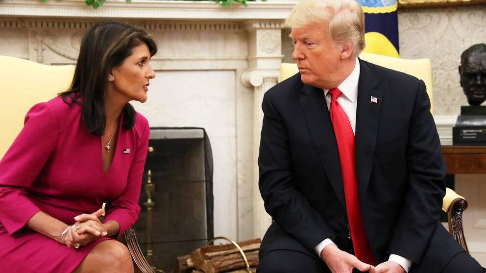 Nikki Haley och Donald Trump på tisdagen.