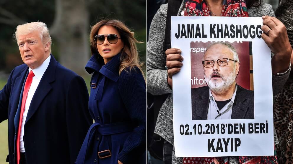 En bild på Donald och Melania Trump och en bild på saudiske journalisten Jamal Khashoggi