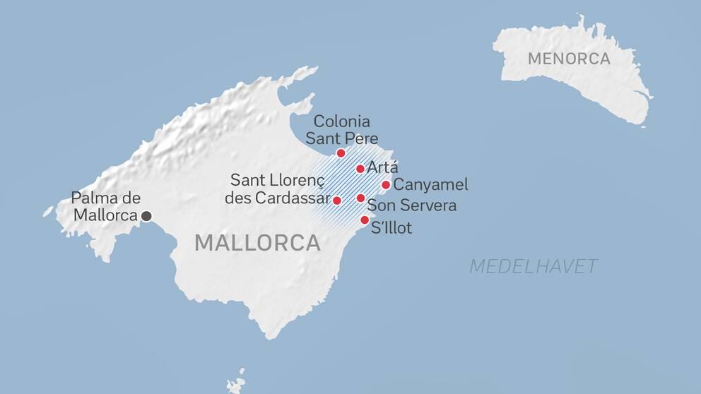 Karta över det drabbade området på Mallorca.