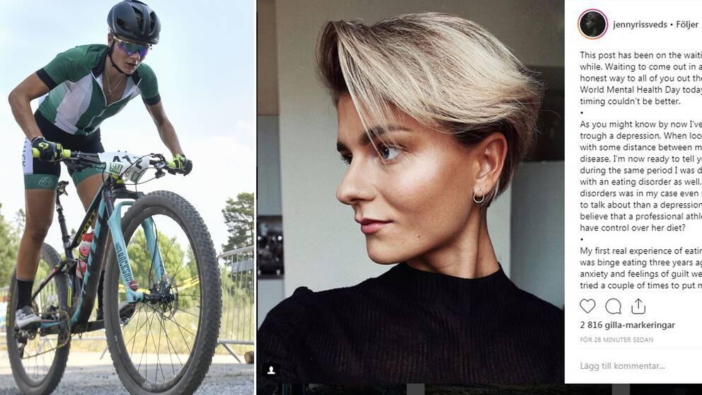Jenny Rissveds har valt att berätta om sina ätstörningar på sociala medier.