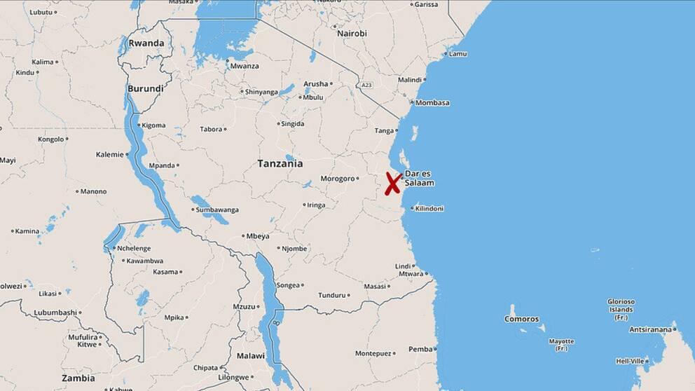 Karta över Tanzania med staden Dar es Salaam utmärkt.
