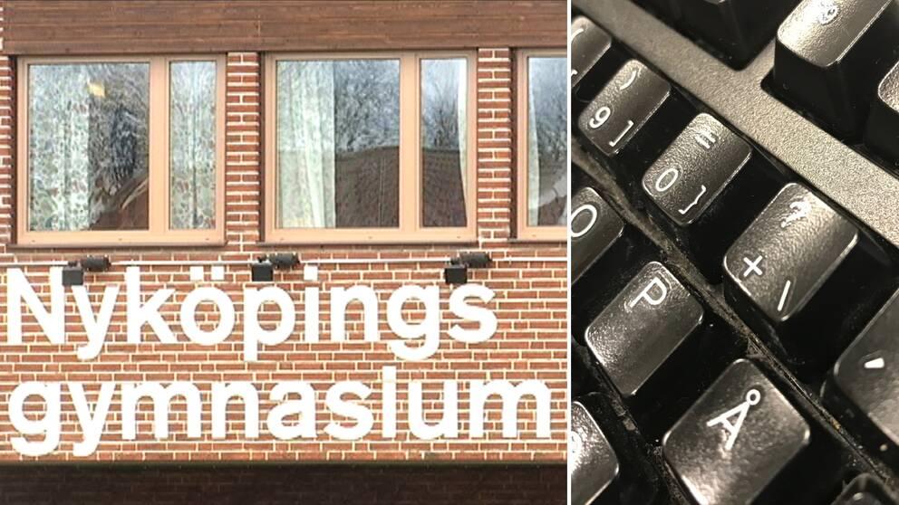 Skylten utanför Nyköpings gymnasium och ett tangentbord