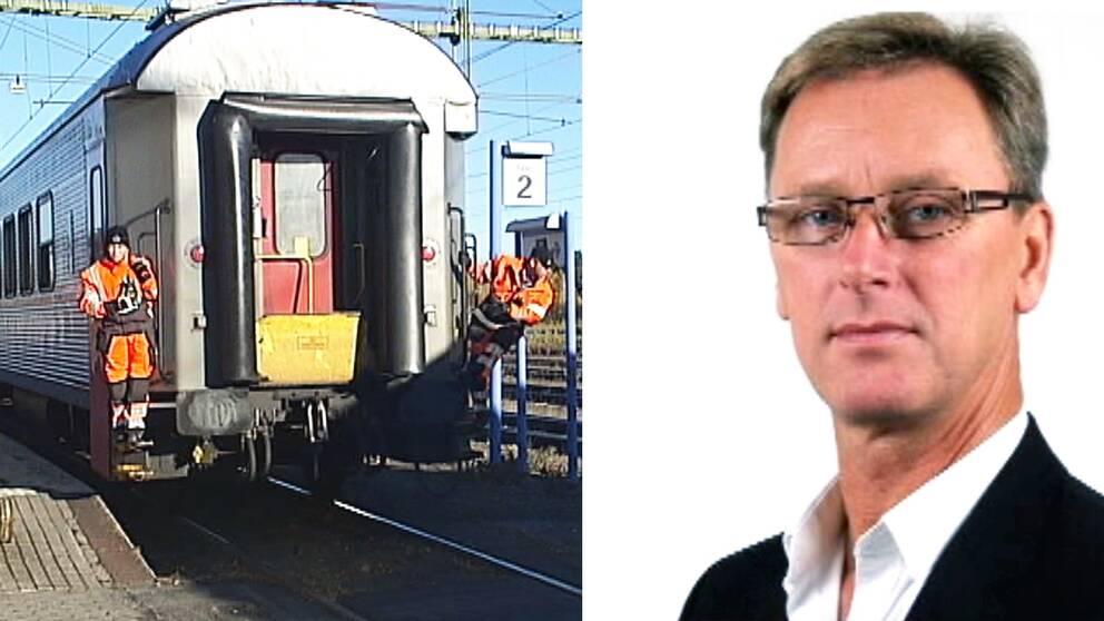 Bild på ett tåg och en man med glasögon.