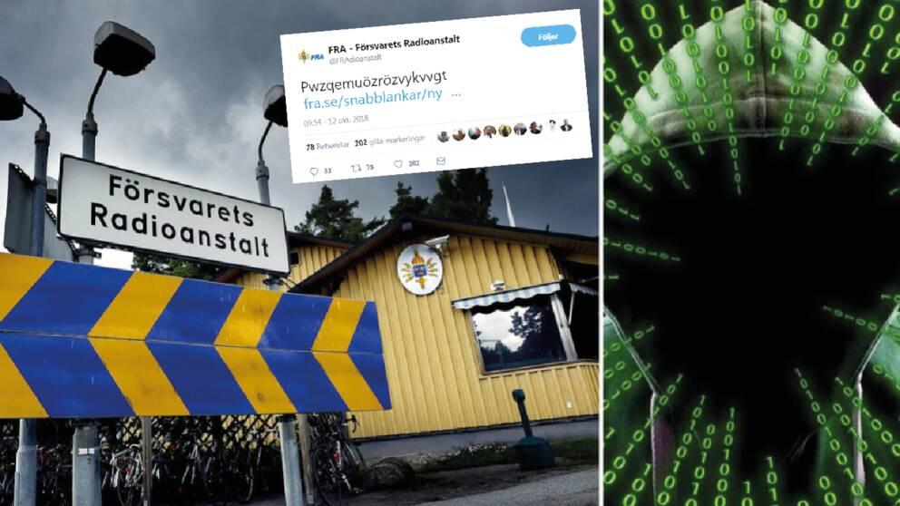 Försvarets radioanstalt, FRA, har gjort debut på Twitter – kan du knäcka deras kryptering?