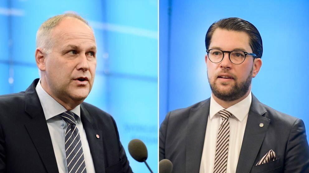 Jonas Sjöstedt (V) och Jimmie Åkesson (SD).