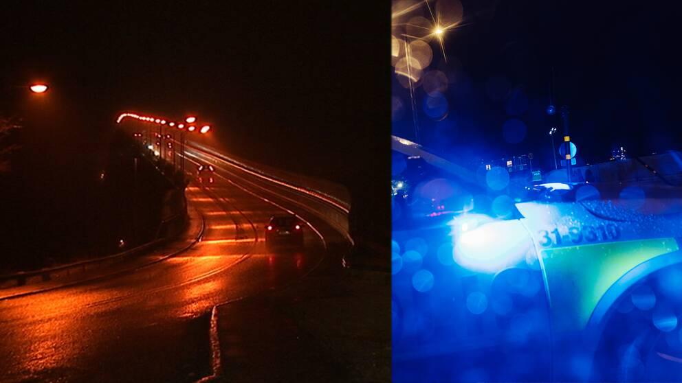 närbild av polisbil med blåljusen på
