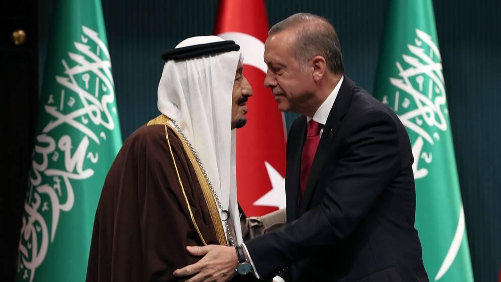 Kung Salman och president Erdogan i Ankara 2016.