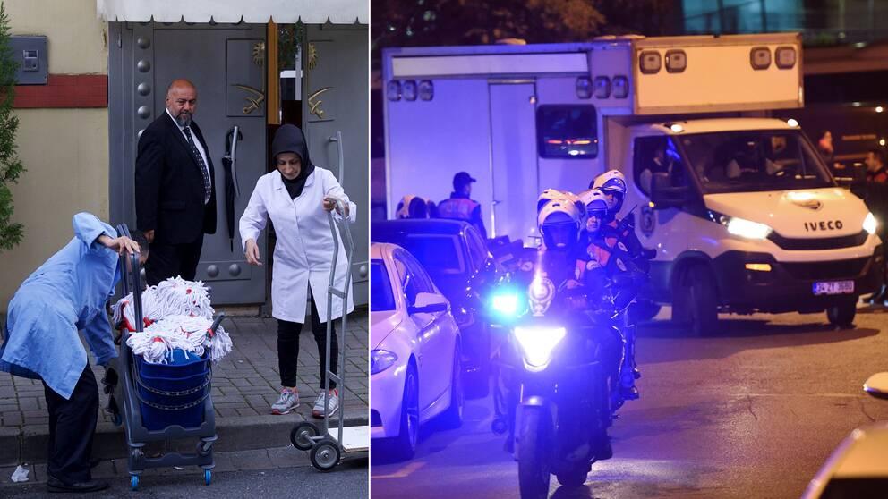Med blinkande blåljus anlände de turkiska poliserna till Saudiarabiens konsulat i Istanbul på måndagskvällen. Bara timmar tidigare släppte säkerhetsvakterna in ett städteam som fångades på bild av pressuppbådet där utanför.