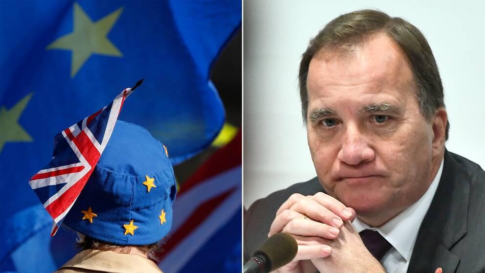 EU:s och Storbritanniens flagga och Stefan Löfven