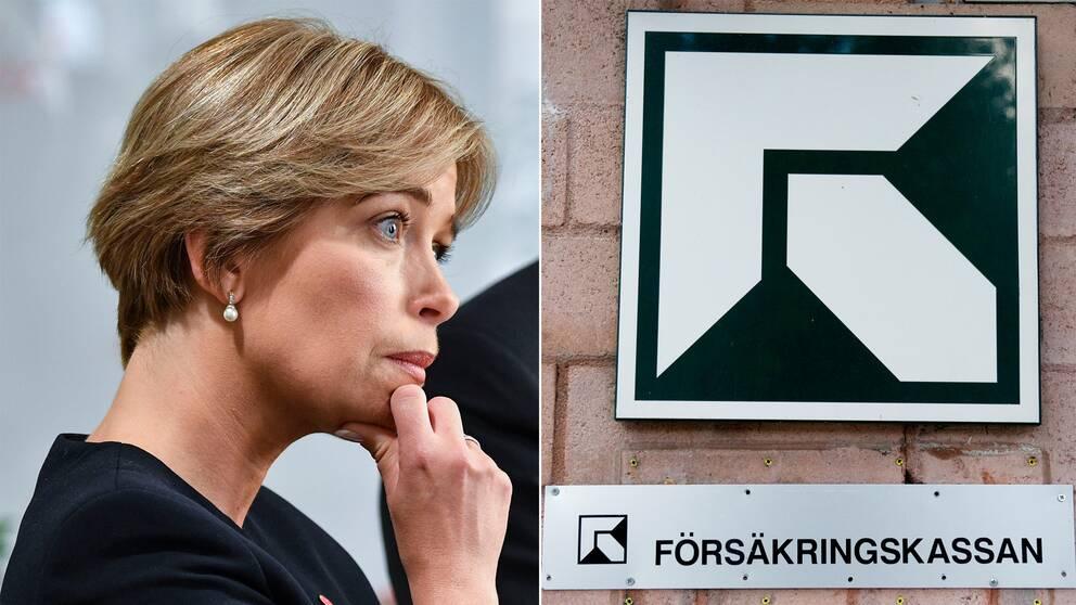 Annika Strandhäll och en skylt på Försäkringskassan