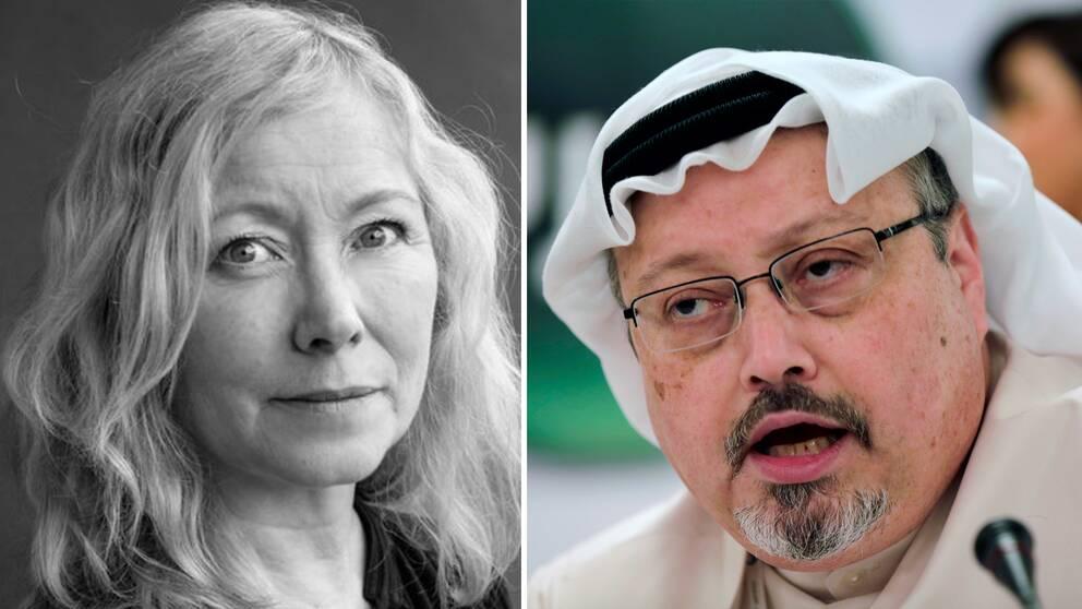 Anna Livion Ingvarsson, generalsekreterare för Svenska PEN och Jamal Khashoggi, saudisk journalist.