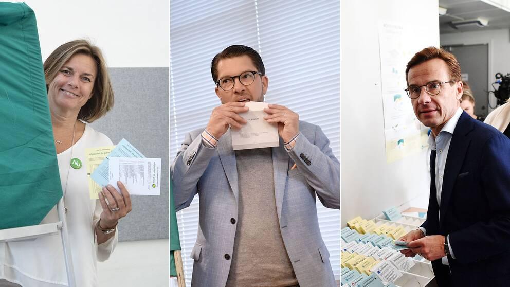 Isabella Lövin (MP), Jimmie Åkesson (SD) och Ulf Kristersson (M) röstar i riksdagsvalet 2018.