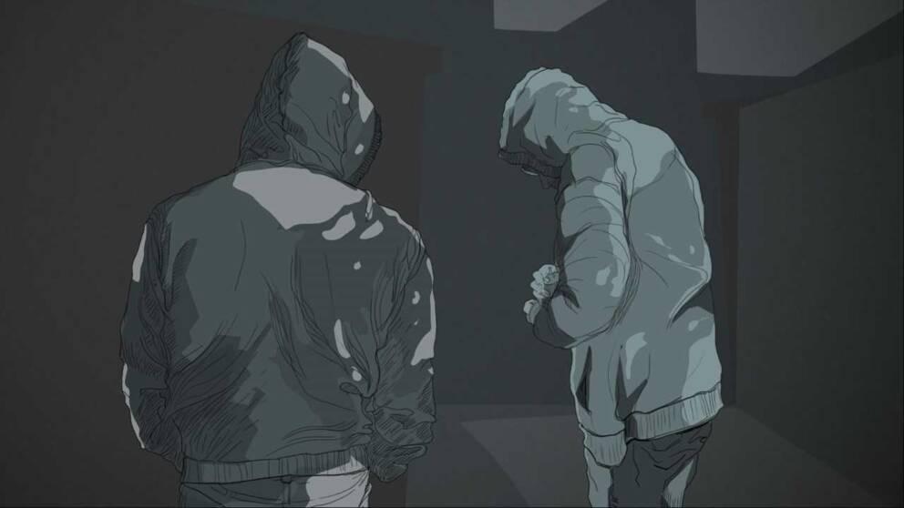 En grafikbild på två män i huvtröjor.