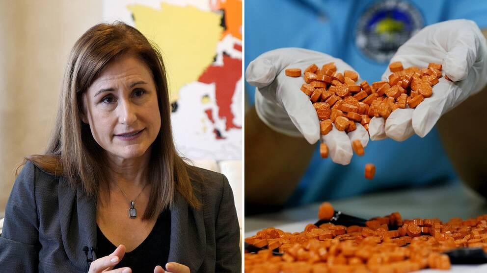 Kvinna och orangea tabletter som faller ur kupade händer.