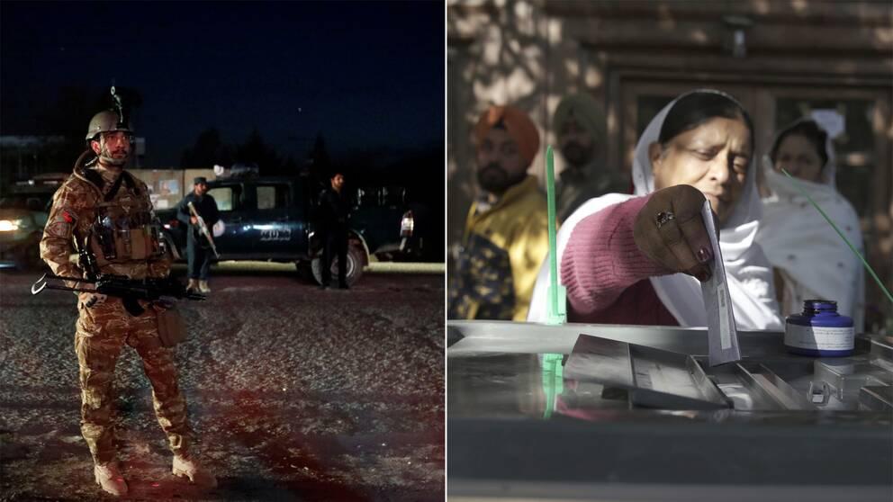 Beväpnad polis och kvinna som röstar