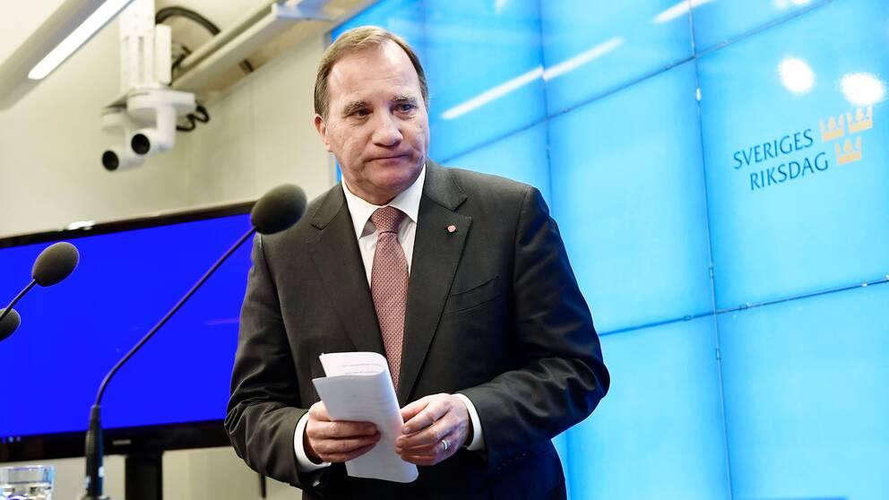 Socialdemokraternas partiledare Stefan Löfven (S) håller en pressträff i risdagens presscenter efter att han träffatriksdagens talman i riksdagshuset i Stockholm.