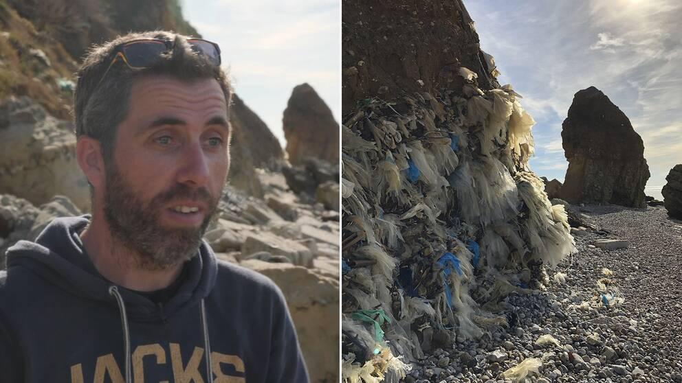 Gwenn Couprie leder ett miljöprojekt utanför Le Havre, varje år bärs 40 ton plast bort från stränderna här.