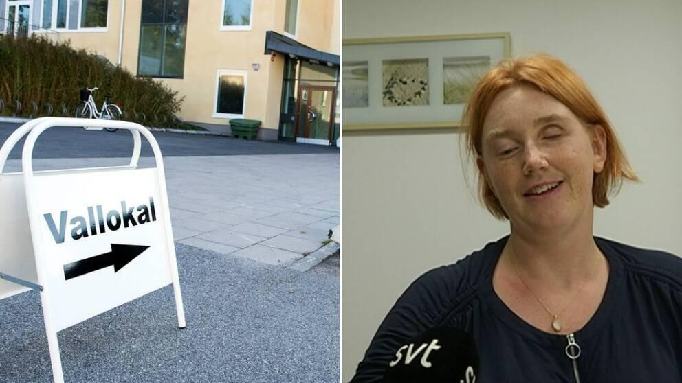 En bild på en skylt till en vallokal och på Catarina Ahlquist.