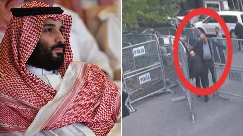 Saudiarabiens kronprins Mohammed bin Salaman och dubbelgångare till Jamal Khashoggi