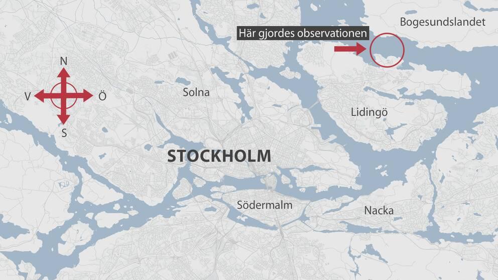 Karta över Stockholm.