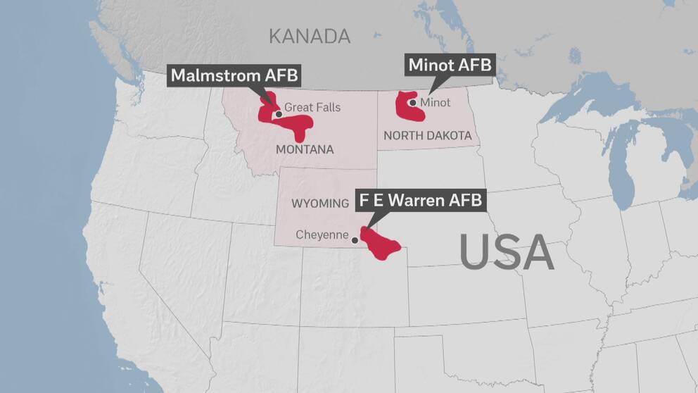 Karta över USA:s kärnvapenanläggningar