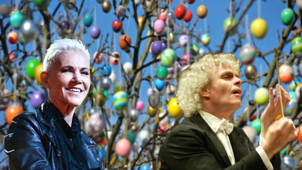 Marie Fredriksson och Sir Simon Rattle kan roa dig under påsken.