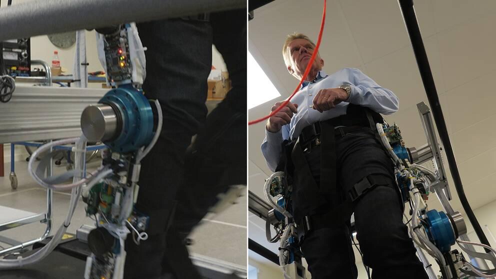 Janne Grenholm testar robotbenen som tagits fram vid högskolan i Gävle. Förhoppningen är att de i framtiden ska kunna hjälpa människoratt vara fysiskt aktiva högre upp i åldrarna.