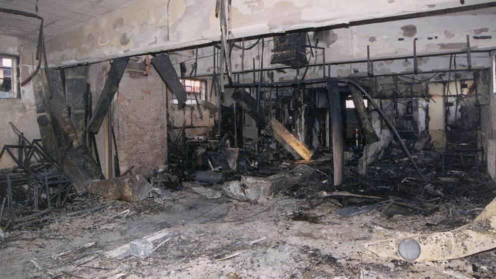 Officiell bild från förundersökningen föreställande den utbrända lokalen.