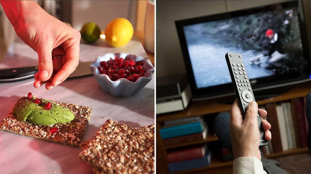 Avokadomacka och person som tittar på tv