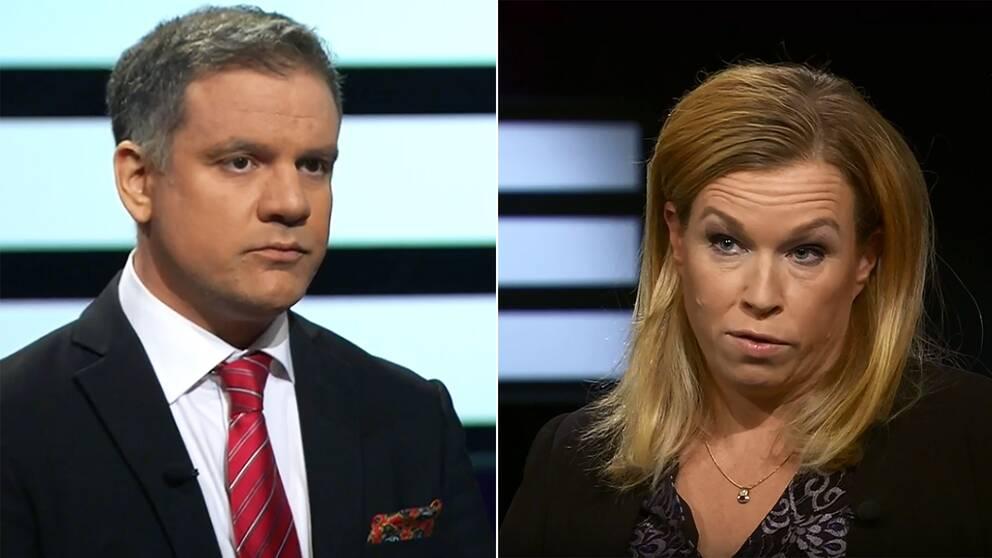 Johan Ingerö från tankesmedjanTimbro och Elin Karlsson från Läkarförbundet i Agenda.