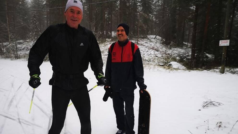 Två vintersugna själar uppe på ett vintrigt Södra berget
