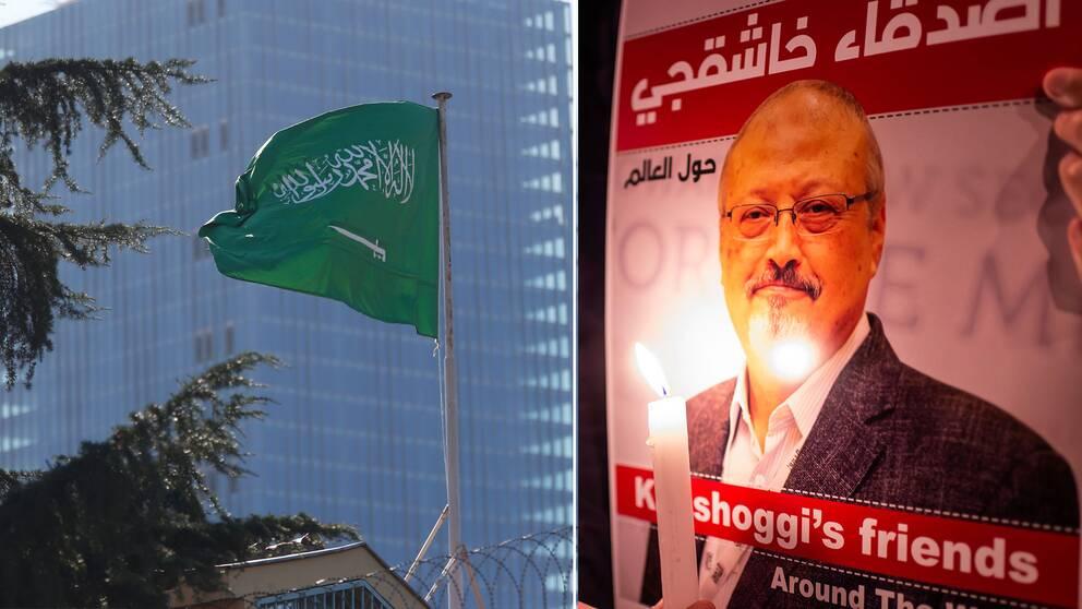 Saudiska konsulatet i Istanbul och en affisch med Khashoggis ansikte