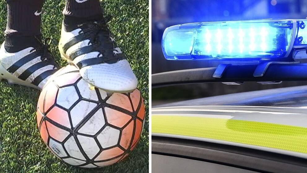 Fotboll och blåljus.