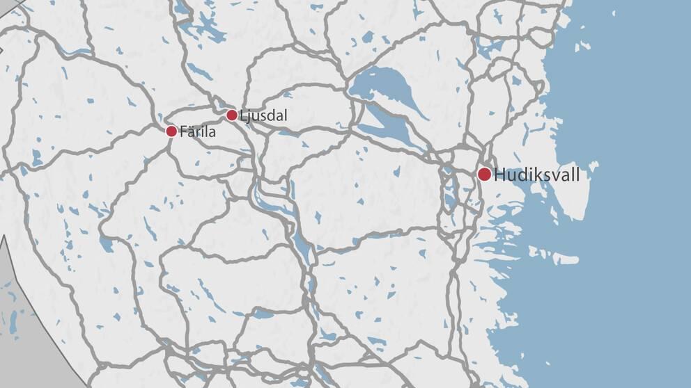 En karta över delar av Gävleborg där Hudiksvall, Ljusdal och Färila är markerade med en röd prick.