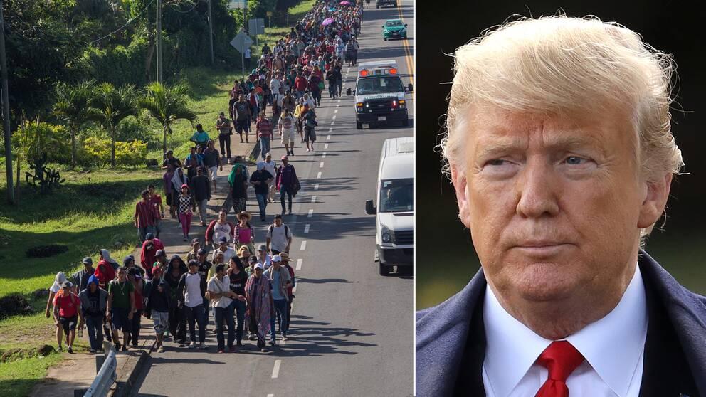 """""""Det är en farlig grupp människor"""", säger USA:s president Donald Trump om migranterna som är på väg mot den gränsen."""
