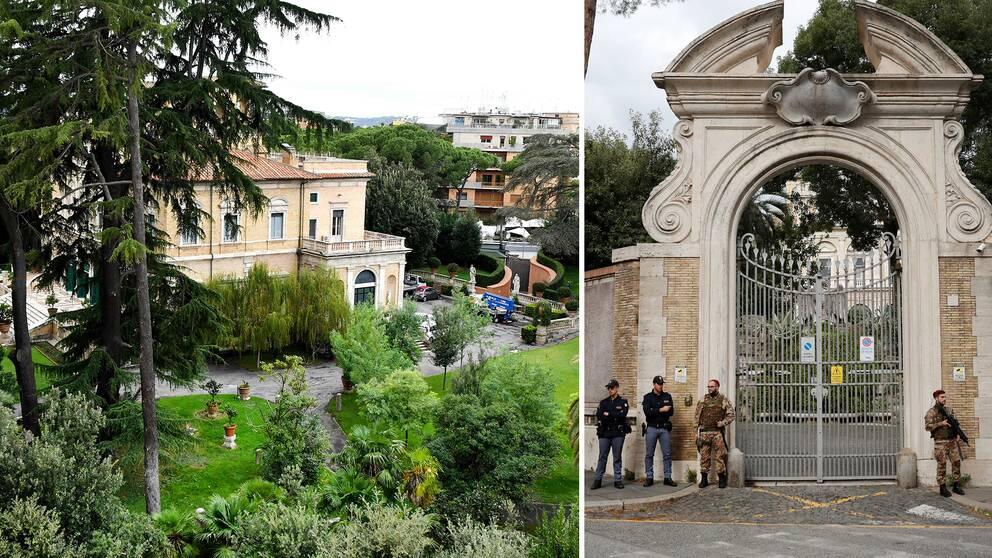 Vakter och poliser utanför entren till Vatikanens ambassad i Rom, den plats där man i samband med ett renoveringsarbete hittat benrester
